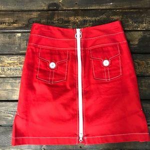 ETCETERA Red Front Zip Skirt